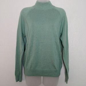 JEANNE PIERRE Long Sleeve High Neck Seafoam Green